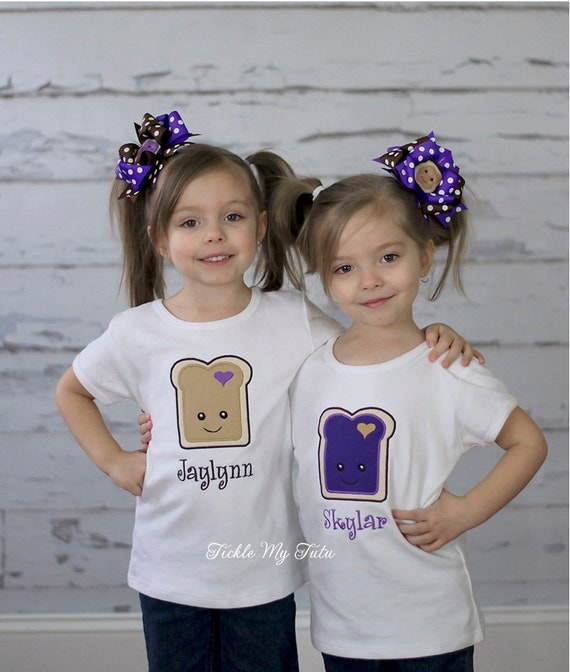 Items similar to Peanut Butter and Jelly Twin Shirt Set ...
