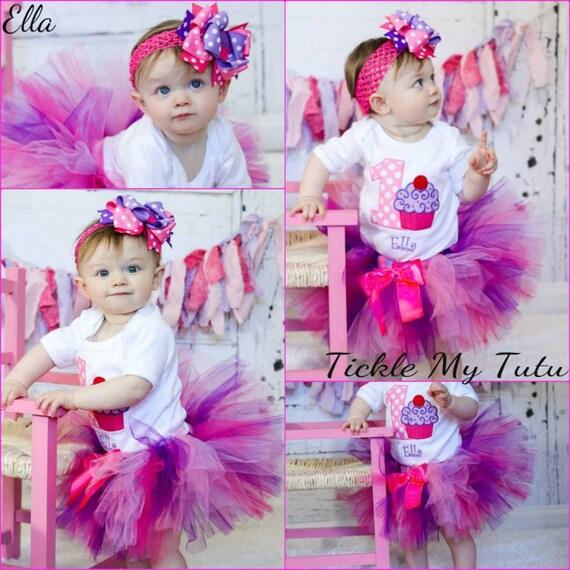 "Cupcake Swirl ""Ella"" Birthday Tutu Outfit-Cupcake Birthday Set-Pink and Purple Cupcake Tutu Set-First Birthday Cupcake *Bow NOT Included*"