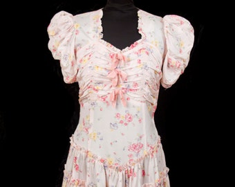 1930s Dress // Pink Floral Ruched Puff Sleeve Gown