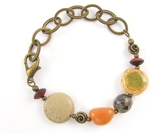 Chunky Gemstone Bracelet, Earthy Bracelet, Orange Brown Green Rust, Chunky Bead and Chain Bracelet