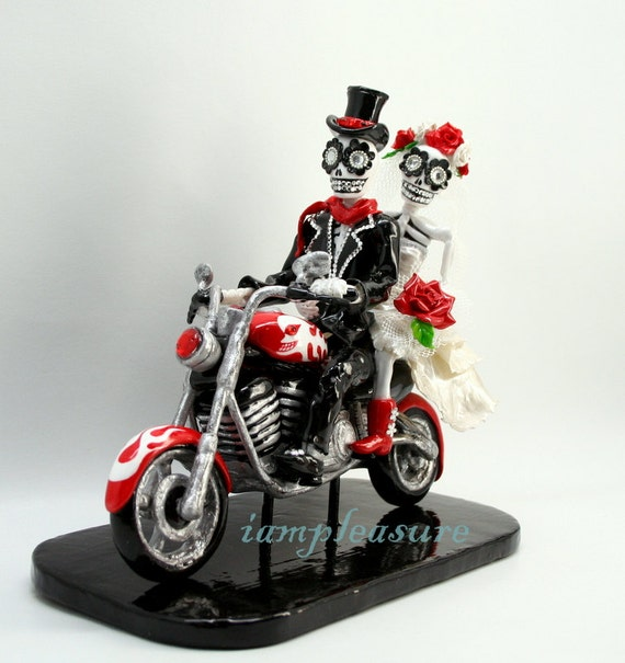 Cake topper love never die Skeleton bride & groom ST0001