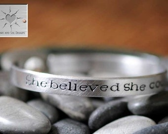 She Believed She Could So She Did - Encouragement Gift - Hand Stamped Bracelet - Personalized Custom Narrow Aluminum Cuff - Inspirational