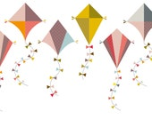 Colorful Kite Clip Art Clipart Set - Personal and Commercial Use