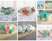 Wedding Headband Wedding Hairband Bridal Head Piece Customized Personalized Romantic Shabby Chic Bridesmaid Fascinator Flower Floral Crown