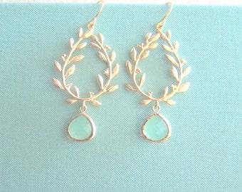 Mint Green Gold Dangle Earrings Laurel Wreath Twine Branch Leaves Glass Drop Dangling Wedding Earrings Bridal Jewelry Green Bridesmaids C1