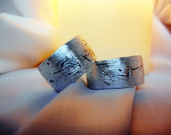 Matching Mens Womens Rustic Wedding Bands, His Her Matching Rings,Textured, Bright Fine Silver, Unique Anniversary Bands