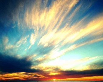 Ocean Sunset Photography, Fine Art Photography Abstract Sky Clouds Photography, Beach Wall Art