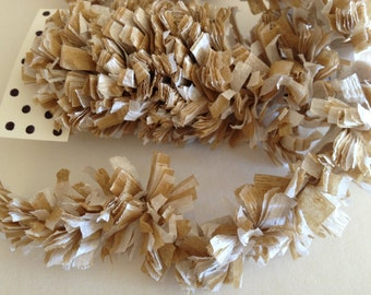Crepe Paper Fringe, Paper Festooning Crepe Paper Garland Banner Tan And White Handmade Decoration Decorating Supply