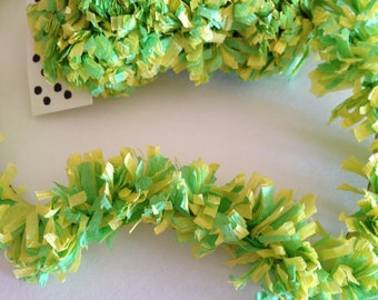 Paper Festooning Crepe Paper Garland Banner Green and Yellow Handmade Decoration Decorating Fringe Supply