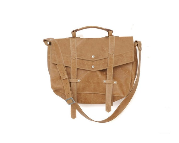 Brown leather messenger bag- Back pack convertible