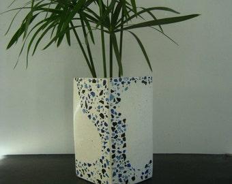 Concrete Terrazzo vase . polished concrete vase. Concrete home decor. Blue and white vase. Mosaic art vase. Handmade vase. Concrete art.