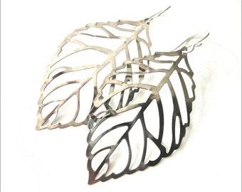 Silver Leaf Earrings - Simple, Modern, Fun - Perfect Gift Idea - Ready to Ship
