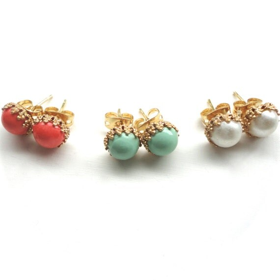 Tiny Stud Earrings - Coral, Mint, & Pearl - Choose Your Color - One Pair of 8mm Post Earrings - Perfect Gift Idea