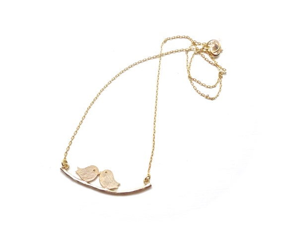 Two Cute Birds on a Branch - Dainty Necklace on Gold Chain