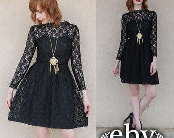 Lace Party Dress Vintage 80s does 50s Black Lace Party Mini Dress XS S Black Lace Dress Black Dress Prom Dress