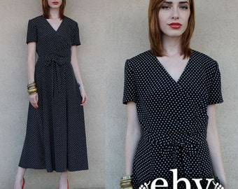 Polka Dot Dress Midi Dress Day Dress Black Dress 1980s Dress Vintage 80s Black Polka Dot Midi Dress S M