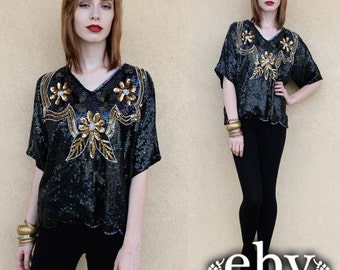 Sequin Top Silk Blouse Vintage Black Beaded Sequin Gold Floral Blouse Top S M