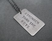 STRONGER Than The BOYS Necklace - Girl Power Necklace on 18 inch Gunmetal chain - Girl Power - Fast Girls - Strong Girls - Strong Women - TheRunHome