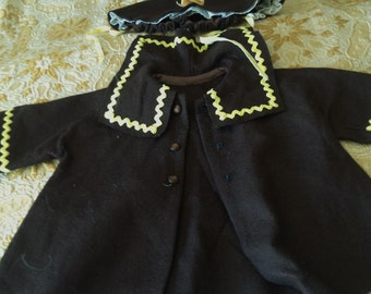 This Coat and Bonnet for a 24 inch Doll is Chocolate BROWN felt and Bright Yellow Rick Rack