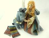 Cloth art doll girl needle felt donkey Grey Burro folktale soft sculpture