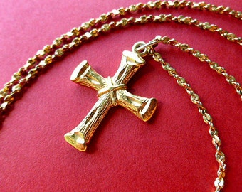 AUGUST SALE: Vintage Goldtone Cross, Cross & Neck Chain, Love Cross Necklace, 1980s Collectible Cross, Goldtone Necklace