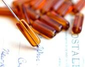Stick Glass beads, brown Topaz long czech beads, tube, Rectangular - 15x5mm - 15Pc - 2479