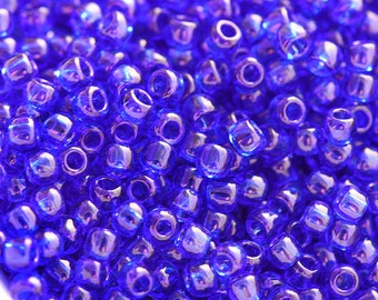 Seed beads, TOHO, size 11/0, Transparent Cobalt, N 8, rocailles, blue glass beads - 10g - S055