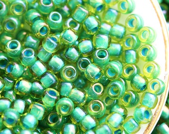 Seed beads, TOHO, size 11/0, Green - Inside color Lime Green, N 947, rocailles, glass beads - 10g - S095