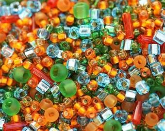Irish Beads Mix, TOHO Seeds - Green Orange - N 3228, rocailles, glass beads - 10g - S265