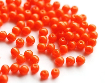 Czech glass beads, Orange opaque, round spacers, druk, bright, small - 4mm - approx.80Pc - 2556