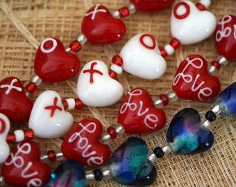 "Exotic ""Love"" Design Handmade Lampwork Heart Glass Beads, 12 Beads Pack L10112"