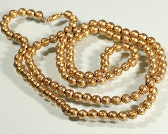 Vintage Art Deco Necklace Gold Tone Necklace Extra Long Bead Necklace 1920s French Jewellery