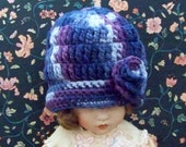 Handmade Adorable Crocheted Newborn 0 - 6 Months Size Girl Beanie Winter Hat / Blueberry Multi Color with Attached Rosebud