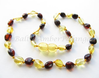 Baltic Amber Teething Necklace, Cherry and Lemon Olive Form Beads
