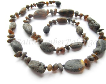 Raw Unpolished Black Color Baltic Amber Necklace. For Adults
