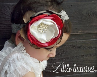 Poivron Rouge (Red Pepper) -Cream, Pumpkin,Coral, Latte, and Tan Satin on a matching lace headband. M2M Persnickety