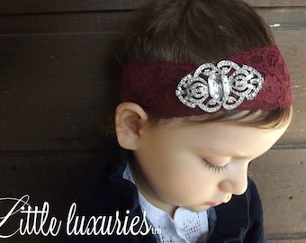 Daisy- Vintage 20's, Great gatsby heaband,  Crimson Lace headband,  Elegant Filagree Art  Deco Brooch, Vintage Style Photo Prop
