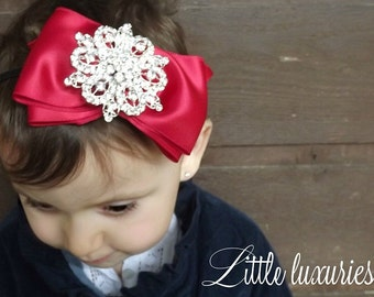 Give Love Red Satin hair bow, Red bling bow, red satin bow, crystal  hair bow,  Silver & red bow