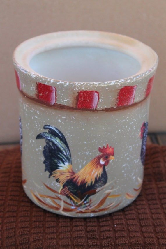 Rooster And Chickens Utensil Holder Kitchen By