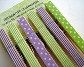 Decorative clothespin set of 6 - lime green & purple / stripes and dots. Washi tape clothespins. - NutmegNaturalsCT