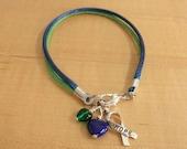 Blue and Green Awareness Bracelet (Cotton) - Intracranial Hypertension IH / Pseudotumor Cerebri PTC