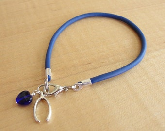 Osteogenesis Imperfecta Blue Awareness Bracelet -  (Rubber) with Wishbone Charm - Brittle Bones - OI Awareness