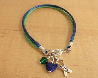 Blue and Green Awareness Bracelet (Cotton) - Intracranial Hypertension IH / Pseudotumor Cerebri PTC
