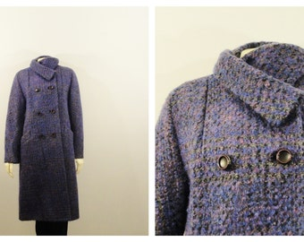Vintage Coat 60s Double Breasted Purple Tweed Mad Men Era Heavy Satin Lined Modern Size Medium to Large