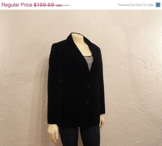 CLOTHING SALE Vintage Blazer Diane Von Furstenberg Black Velvet Blazer Jacket Near Mint Lined Modern Size Small to Medium
