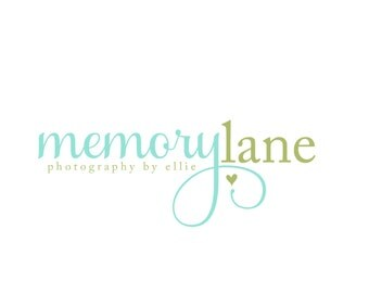 Custom Logo Design Premade Logo for Photographers and Small Businesses Text Only Two Toned with Heart Whimsical Shabby Chic