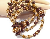 RESERVED for JUDY    Animal/Giraffe Print Wrap Around Beaded Bracelet with Bone, Wood, Coconut and Jasper Beads