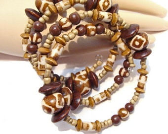 Animal/Giraffe Print Wrap Around Beaded Bracelet with Bone, Wood, Coconut and Jasper Beads