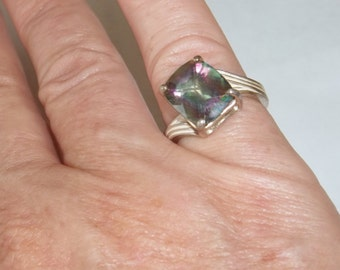 Vintage 1970's  Sterling Silver Crystal Mystic Topaz Alternative Engagement Ring Fine Jewelry Gift For Her on Etsy