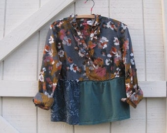 Boho top, rustic romantic fall, teal floral blouse, upcycled clothing, XS-S, boho patchwork, artsy blouse, XS-S.